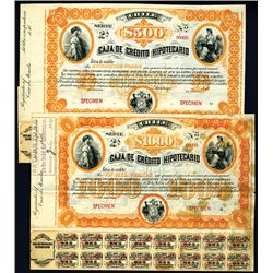 Caja de Credito Hipotecario, Specimen Bond.