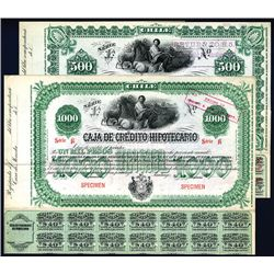 Caja de Credito Hipotecario, Specimen Bonds Lot of 2.