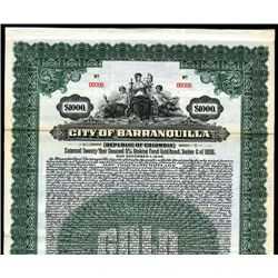 City of Barranquilla, Specimen Bond.