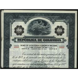 Republica De Colombia Specimen Bond.