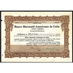 Banco Mercantil Americano de Cuba, Low Serial Number Issued Stock.