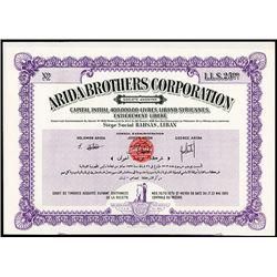 Arida Brothers Corp. Specimen Bond.