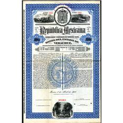 Republica Mexicana - Bono Del Estado De Veracruz, Specimen Bond.
