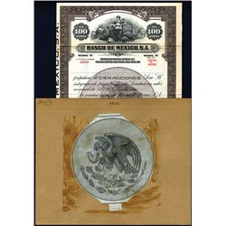 Banco de Mexico, S.A., Specimen Bond and Proof Vignette.