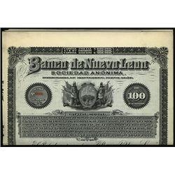 Banco de Nuevo Leon, Specimen Bond.