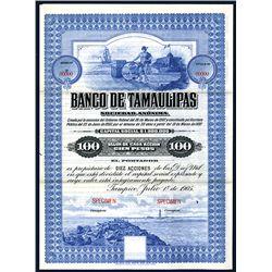 Banco de Tamaulipas, Specimen Bond.