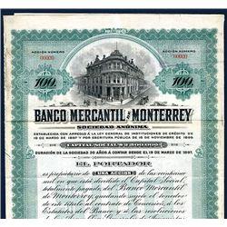Banco Mercantil de Monterrey, Specimen Bond.
