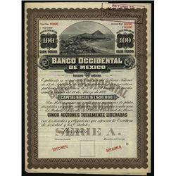 Banco Occidental de Mexico, Specimen Bond.