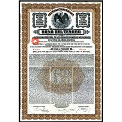 Republica Mexicana - Bono Del Tesoro, 1913, 975 Pesos-100 Pounds Issued Speculative Bond.