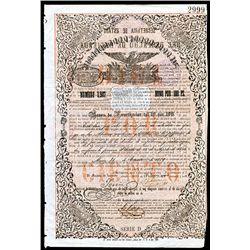 Republica y Mexicana, 1859, 100 Pesos 10% Issued Bond.