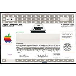 Apple Computer, Inc., 1977 Specimen Stock Certiificate with Early Apple Computer Vignette.