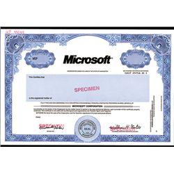 Microsoft Corp., Specimen Stock.