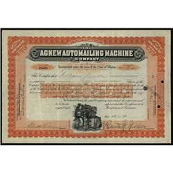 Agnew Automailing Machine Co., Issued Stock.