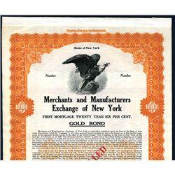 Merchants & Mechanics Exchange of New York Specimen Bond.