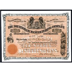 Nottingham Manufacturing Co. Issued Stock.
