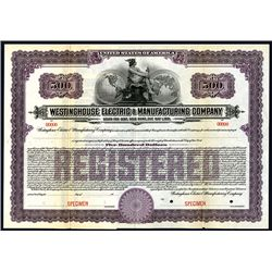 Westinghouse Electric & Manufacturing Co., Specimen Bond.