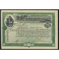 National Cape Nome Gold Mining and Transportation Co. of Alaska, Specimen Bond.