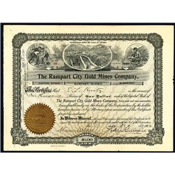 Rampart City Gold Mines Co., Issued Alaska Mining Stock Certificate.