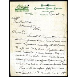 Alaska Klondike Cooperative Mining Expedition, 1897 Letter Head.