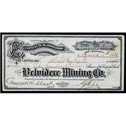 Belvidere Mining Co., Issued Stock.