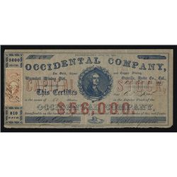 Occidental Co., for Gold, Silver and Copper Mining Issued Stock.