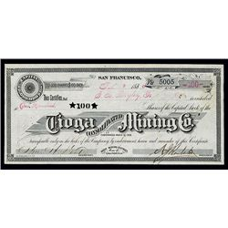 Tioga Consolidated Mining Co., Issued Stock.