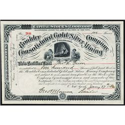 Boulder Consolidated Gold and Silver Mining Co. Issued Stock.