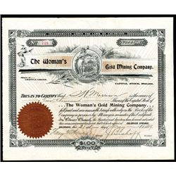 Woman's Gold Mining Co., Issued Stock.