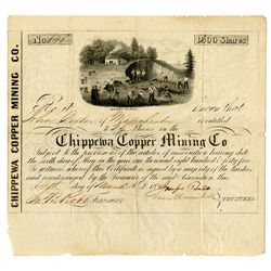 Chippewa Copper Mining Company, 1846 Issued Michigan Mining Certificate.