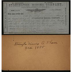 Stonington Mining Co. Issued Stock.