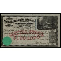 New York, Philadelphia & Baltimore Consolidated Petroleum & Mining Co. Issued Stock.