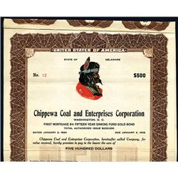 Chippewa Coal and Enterprises Corp. 1924 Bond with Multi-Color Native American Portrait.