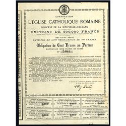 L'Eglise Catholique Romaine Diocese De La Nouvelle-Orleans Issued Stock & Bond Certificate.
