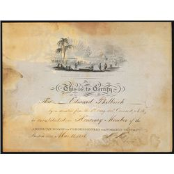 American Board of Commissioners for Foreign Missions, 1848, Honorary Member Certificate.
