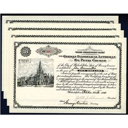 German Evangelical Lutheran St. Peter Church, 1905 Issued Lot of 4 Bonds.