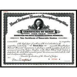 Mount Rushmore Memorial Inscription Competition Specimen Certificate.