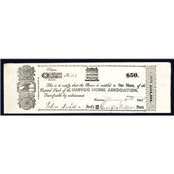Nauvoo House Association, Historical Mormon 1841 Issued Stock Certificate - Obsolete.