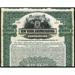 New York Shipbuilding Corp. Specimen Bond.