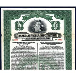 Banco Agricola Hipotecario (Agricultural Mortgage Bank), Specimen Bond.