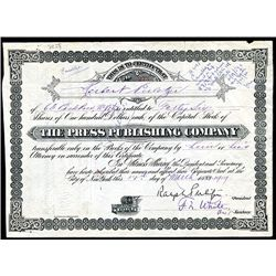 Press Publishing Co. Issued Stock Signed by Ralph Pulitzer.