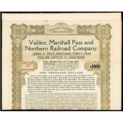 Valdez, Marshall Pass and Northern Railroad Co., Issued Bond.