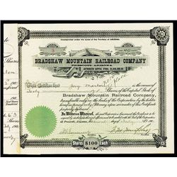 Bradshaw Mountain Railroad Co., Issued Stock.