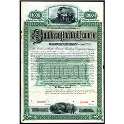 Southern Pacific Branch Railway Co., of California, Specimen Bond.