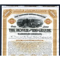Denver and Rio Grande Railroad Co. Specimen Bond.
