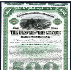 Denver and Rio Grande Railroad Co., Specimen Bond.