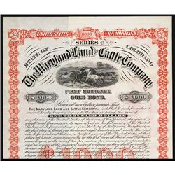 Maryland Land and Cattle Co. Specimen Bond.