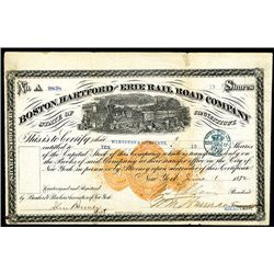 Boston, Hartford & Erie Rail Road Co. 1872 Stock Certificate with Imprinted Revenue RN-U1