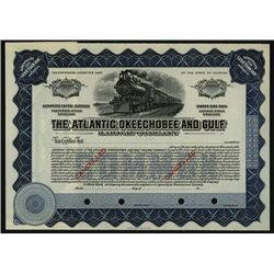 Atlantic, Okeechobee and Gulf Railway Co., Specimen Stock.