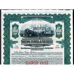 Toledo, Peoria & Western Railroad, Specimen Bond.