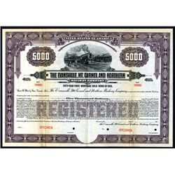 Evansville, Mt. Carmel and Northern Railway Co., Specimen Bond.